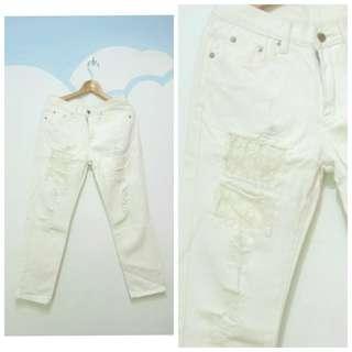 (二手)白色蕾絲大破褲牛仔長褲