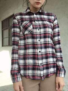 🚚 Heather日系休閒格紋磨毛襯衫