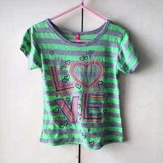 Girls' Green Shirt / Top - Heart, Love (2-3 years old)