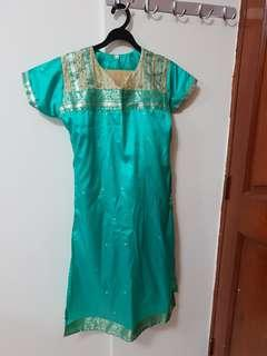 Green / Gold Punjabi Suit ( Top / Gold Pants)