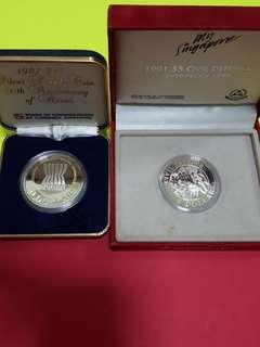 1991-silver proof coin $5-civil defence with box (no cert)/1987 -silver proof coin with box (no cert) $10-20th anninevary of asean.2pcs total