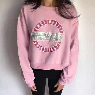 H&M 粉紅色雷射短款衛衣