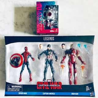 MISB 3 Pack Marvel Legends Spider-Man, Captain America & Iron Man Collectible Set, Cosbaby Star-Lord Hot Toys Action Figure