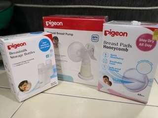 Pigeon Breast Pump/breast pad/breastmilk storage bottles