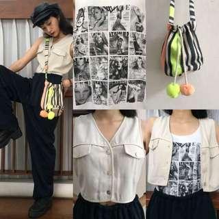90's set (cream coloured vest/top, loose pants, bohemian bag, an)d a cute top