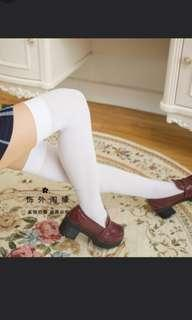 white above knee thigh high stockings