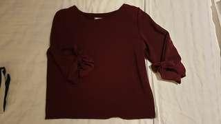 BN Maroon top with ribbon on sleeves