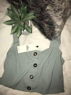 Button Front Crop (dusty blue) - NEW !