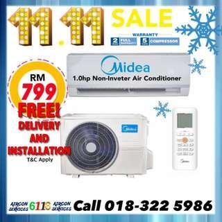 Midea Aircond 1.0hp with installation