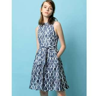 BNWT Saturday Club Waverly Dress XS size 6 watercolour crepe tie waist dress