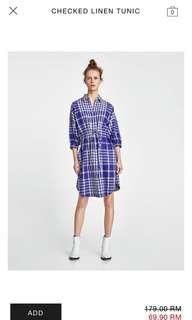 Zara Checkered Dress in M size
