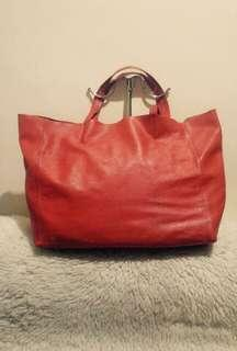 Authentic Celine Leather Cabas Horizontal Tote Bag