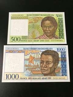 Madagascar - 2 pcs, 500 & 1000 Francs. UNC condition.