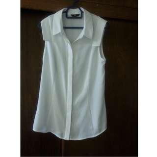 BNWOT Cue size 6 White Sleeveless shirt blouse Top georgette crepe