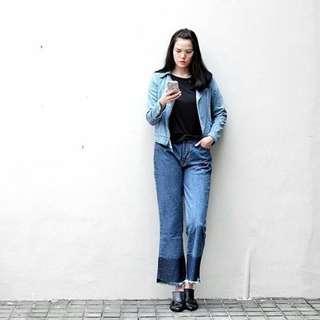 8wood dark blue wide leg fringe denim jeans lebar