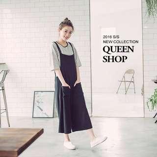 🚚 Queen shop 雙肩連身寬褲套裝