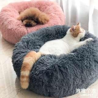 深度睡眠狗窩 貓窩 圓形毛絨秋冬窩墊 貓床 墊子 中小型犬絨面四季