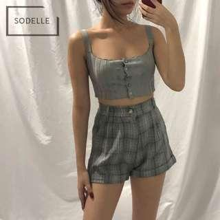 INSTOCKS Button down straight cut ribbed spag cami crop top