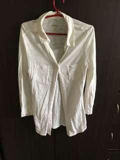 3/4 White Collared Blouse