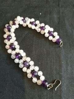 粉晶十紫晶手鍊,不议價