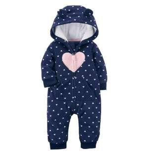 🚚 BN Carters Baby Girl Hearts Navy Polkadot Winter Fleece Romper / One Piece 12mths avail!