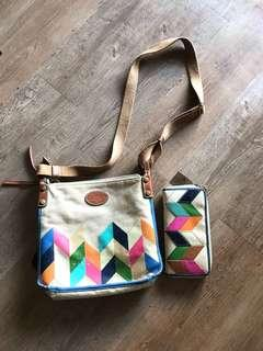 Fossil sling bag patchwork leather trim with purse