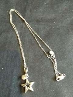 晶石吊咀十纯銀颈鍊