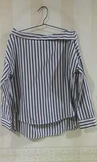 STRADIVARIUS STRIPE PINK BLUE TOP