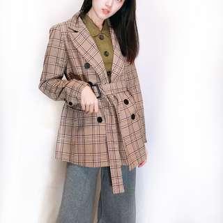 韓國單格紋西裝外套 有腰帶