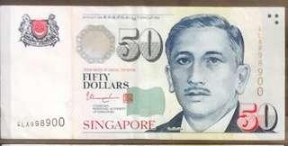 💥998900💥Portrait Series $50 Note with Auspicious Serial Number 4LA 998900 in EF Condition