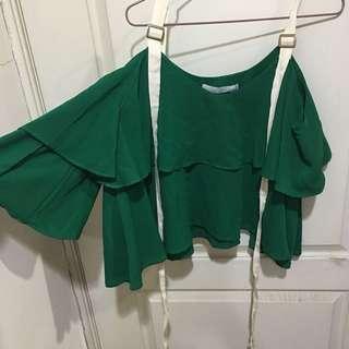 🚚 穿過一次正韓綠雪紡上衣