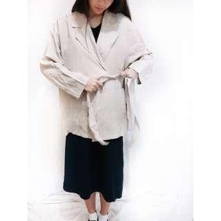 韓國單側邊綁帶西裝外套