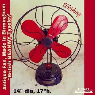 Rare Antique Fan with Red Metal Blades Made in Birmingham, England. British BEANWY Tyseley. Working condition, clean, silent and windy. $278, WhatsApp 96337309.