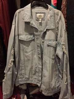 unisex Forever21 tattered Denim Jacket