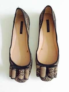 Zara Lace Bow Flats