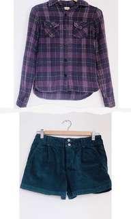 GAP Corduroy Shorts/Vintage Style Long Sleeves Bundle