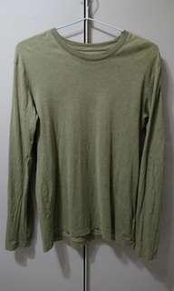 Uniqlo Supima Cotton olive long-sleeve shirt