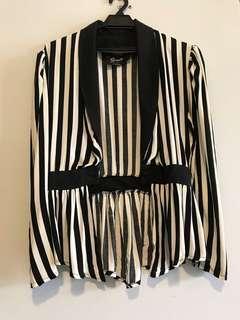 Stripe peplum cardigan kyle jenner style