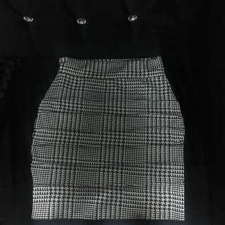 Fitted skirt formal stripes black