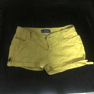Japanese brand female shorts yellow denim