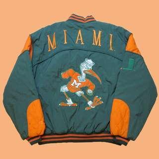 JCI:Vintage NUTMEG 出品 NCAA 邁阿密大學隊 厚棉棒球外套 古著 / 90s / 嘻哈