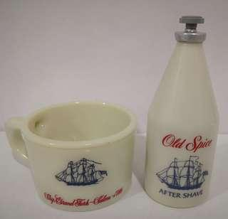Vintage 1980s OLD SPICE AFTER SHAVE BOTTLE + CUP