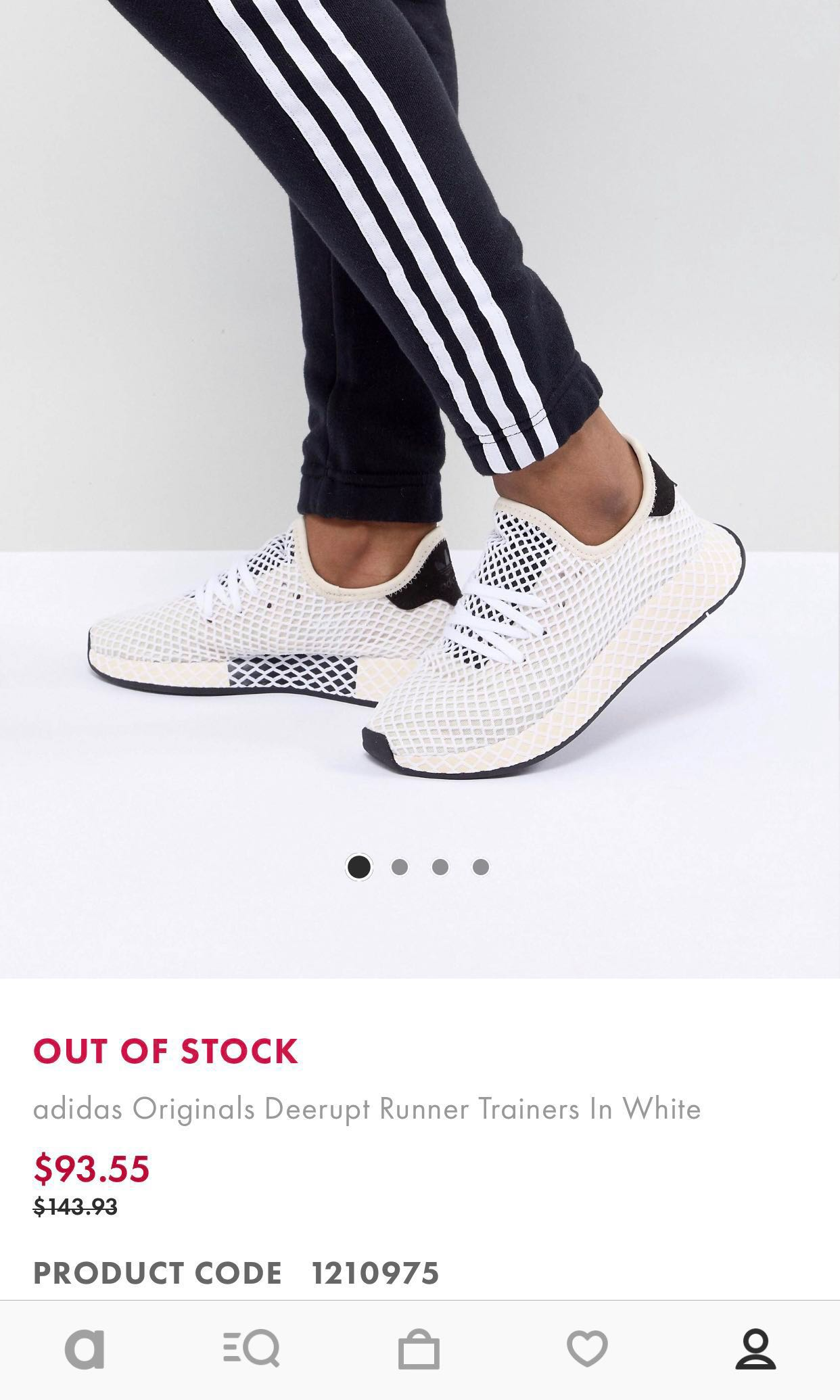 fea4dc60198b2 adidas original deerupt runner trainers in white