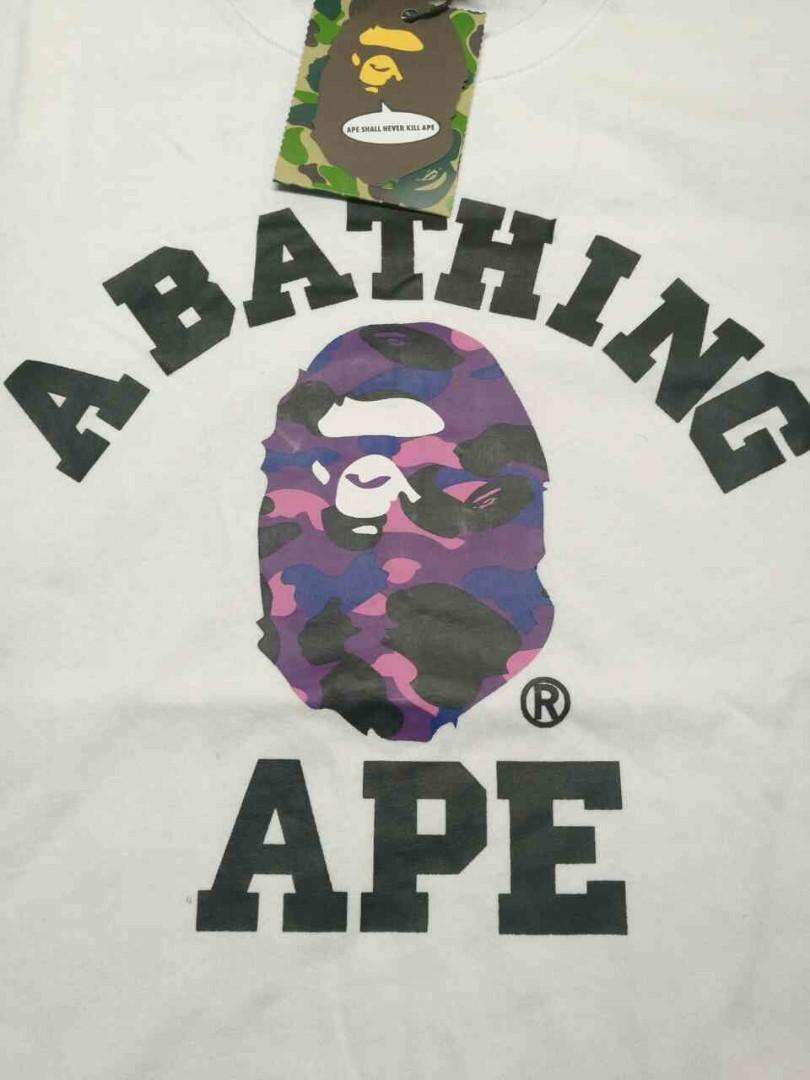 d5fc86a2 BNWT XL Bape A Bathing Ape 1st Camo Purple College Tee White, Men's  Fashion, Clothes, Tops on Carousell