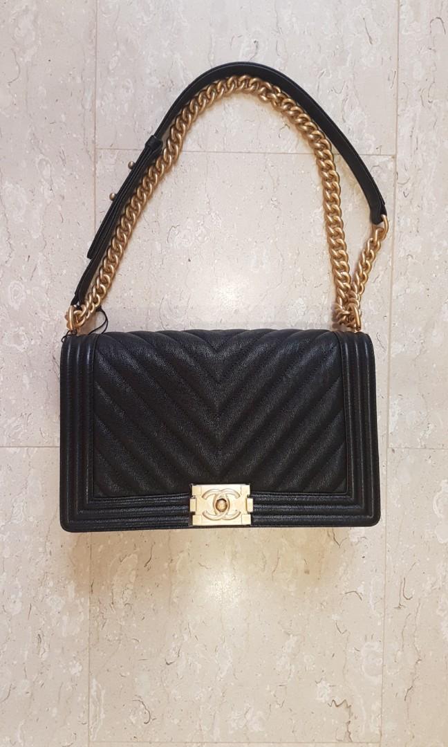 3d76a7f396b3 Chanel New Medium Chevron Boy in Black Caviar BNIB, Luxury, Bags ...