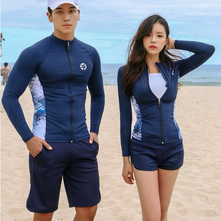 b8e29dc32e Couple Zip Rashguard Women's 3 Piece Tank Top Men's 2 Piece Long ...