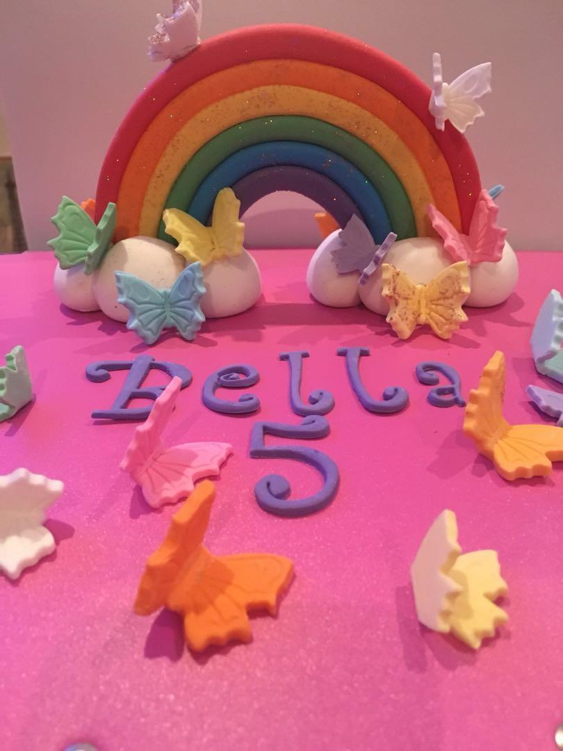Edible Rainbow with Butterflies or flowers, name and age