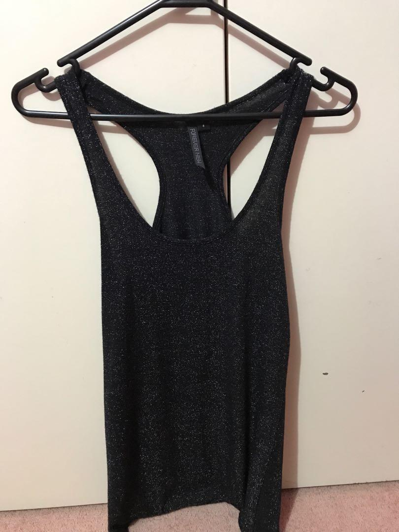 Forever new black and silver singlet top