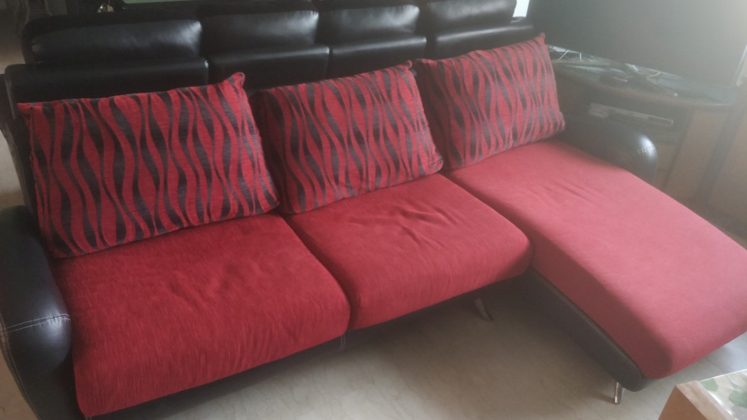 Hot Red Black Cloth Sofa Furniture Sofas On Carousell