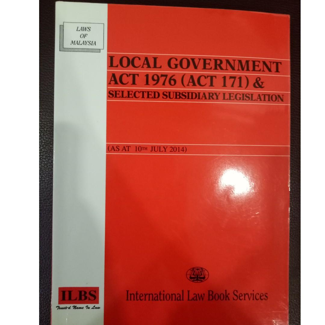 Local Government Act 1976 Act 171 Selected Subsidiary Legislation Textbooks On Carousell